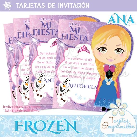 Invitaciones Para Imprimir Troqueladas Anna Frozen Etsy