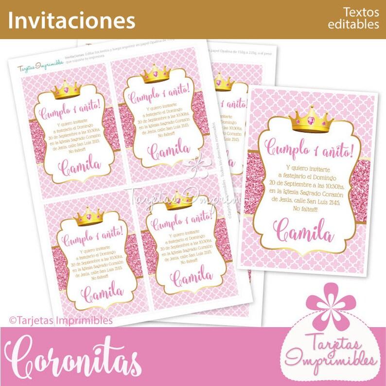 EditablePdfEtsy Imprimir Para Coronita Rosa Invitaciones Texto 0vmwN8n