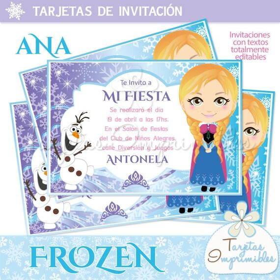 Invitaciones Para Imprimir Anna Frozen Etsy