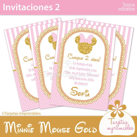 Minnie Mouse Gold Pink Tarjetas De Invitación Para Imprimir Entrega Inmediata Pdf Con Texto Editable
