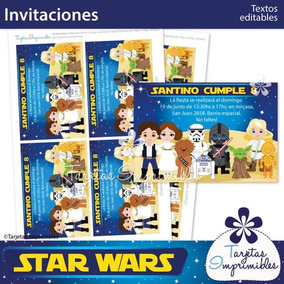 Star Wars Tarjetas De Invitación Para Imprimir Texto Editable Pdf