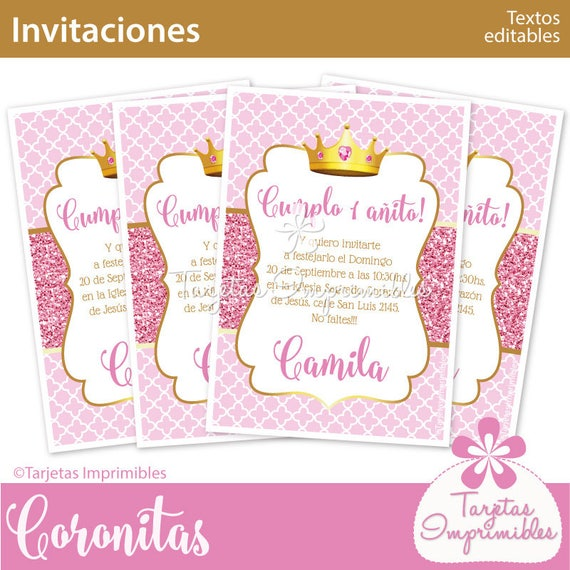 Coronita Rosa Invitaciones Para Imprimir Texto Editable Pdf Descarga Inmediata Efecto Glitter Rosa
