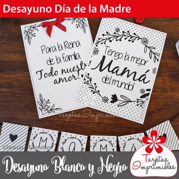 Día De La Madre Desayuno Personalizado Blanco Y Negro Pdf Imprimible Con Frases Para Mamá Texto No Editable Español Descarga Inmediata