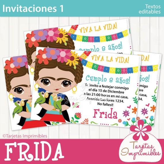 Frida Kahlo Tarjetas De Invitación Para Imprimir Entrega Inmediata Pdf Con Texto Editable