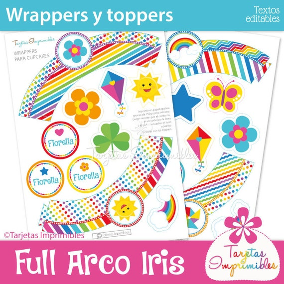 full rainbow wrappers and toppers for cupcakes to print pdf etsy