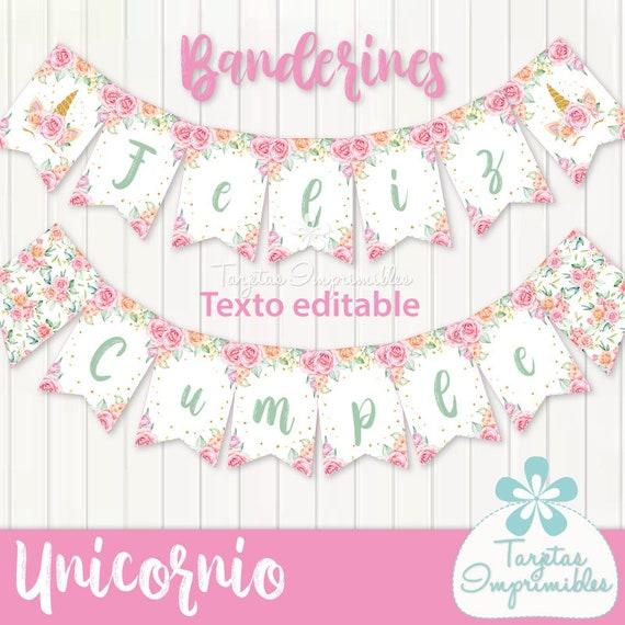 Banderines Para Imprimir Con Unicornio Y Flores Unicornio Etsy