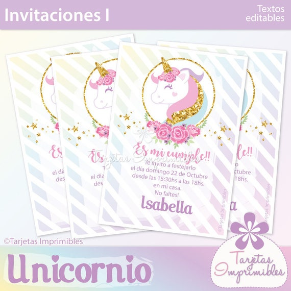 Unicornio Tarjetas De Invitación Para Imprimir Entrega Inmediata Pdf Con Texto Editable