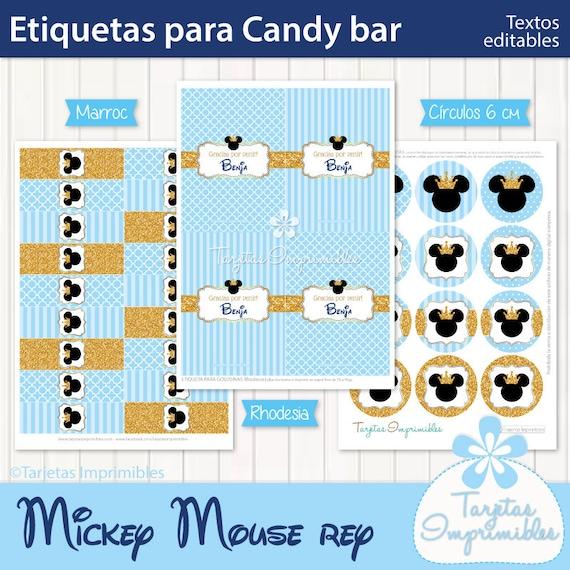 Mickey Mouse Rey Kit De Etiquetas Para Candy Bar Imprimible