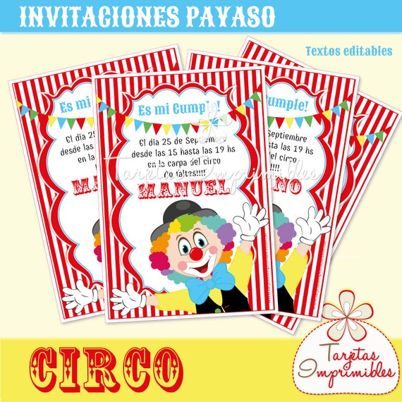 circus clown invitations to print with editable text pdf etsy
