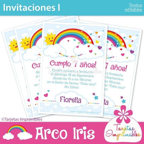 Arco Iris Tarjetas De Invitación Para Imprimir Texto Editable Pdf