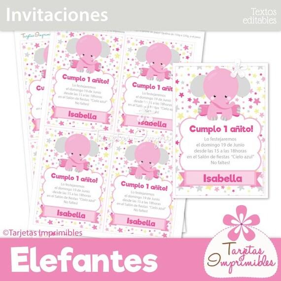 Elefantes Niña Rosa Tarjetas De Invitación Para Imprimir Texto Editable Pdf
