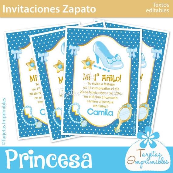 Princesa Cinderella Tarjetas De Invitación Para Imprimir Texto Editable Pdf