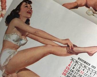 Midcentury Esquire 12-Page Pinup Calendar by Ernest Chiriaka