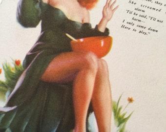 Vintage postwar advertising pinup calendar -- Feb 1947