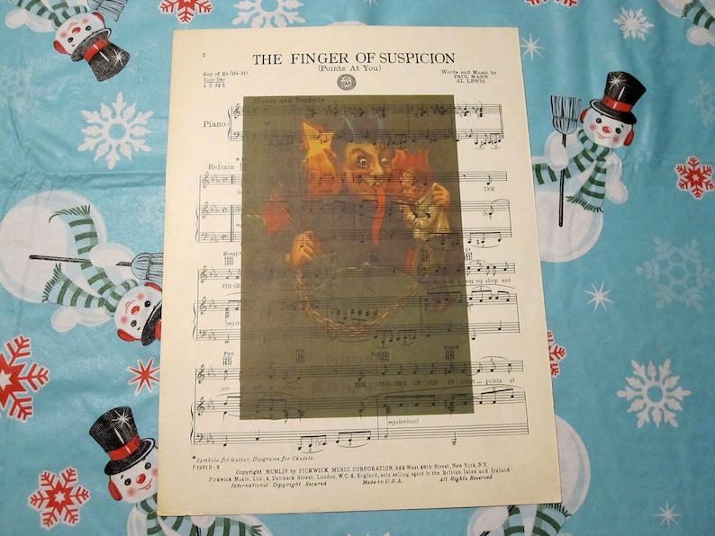 Krampus Art Print on Vintage Music Sheet - Gothic Wall Decor Wall Print  Horror