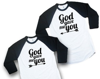 """Couples Baseball Tee """"God gave me you"""" Christian T-Shirt, Tri Blend, Christian Clothing, Wifey t-shirt, Hubby t-shirt, Unisex, (XS-2XL)"""