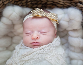 Gold Bow Headband/ Gold Headband/ Baby Headband/ Newborn Headband/ Gold Bow/ Adult Headband/ Sparkle Bow Headband/ Gold Sparkle