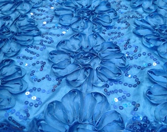 Gorgeous Royal Blue Floral Poly Satin Rosette with Sequins Fabric by the Yard