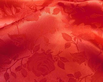 Floral Jacquard Satin Burgundy by the Yard