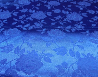 Floral Jacquard Satin Royal Blue by the Yard