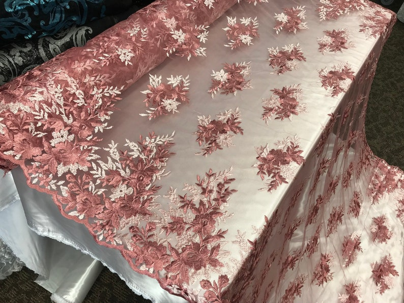 Dusty Rose Bridal Wedding Floral Mesh Lace Fabric by Yard