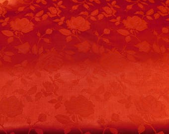 Floral Jacquard Satin Red by the Yard