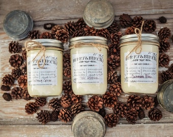 CHOOSE SIX--16 oz--Handpoured Soy Wax Candles--Phthalate free fragrance--Mason Jar--Gift