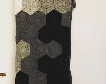 Geometric Hexagon Crochet Blanket