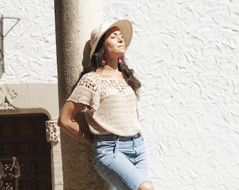 It's a Beautiful Day Crochet T-shirt Pattern by Cecilia Losada, boho style, summer tee, boho chic, bohochic, crochet boho, top down