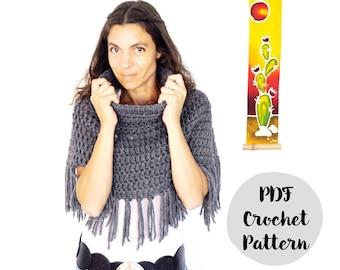 The Asymmetric Poncho Crochet Pattern, phototutorial step by step, for beginners, tutorial, boho poncho, boho vest, easy, alpaca yarn