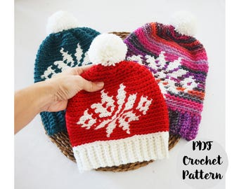 Crochet Pattern Christmas Star Fair Isle Slouchy Beanie Hat, Step by Step Phototutorial, baby, toddler, adults, women, men, pom pom, pompom