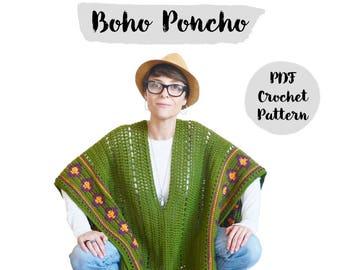 Pattern Boho Poncho / Crochet Step by Step Tutorial Pattern / Bohochic / Crochet Pattern / Do It Yourself / DIY