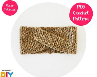 Cross Headband Crochet Pattern, ear warmer, turban, easy video tutorial, all sizes, woman, step by step, baby turban, crochet turban