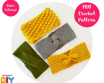 Pack Headbands Crochet Patterns English Version, all sizes, woman, baby, toddler, videotutorial