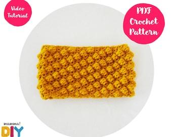 Bobble Headband Crochet Pattern, ear warmer, turban, easy video tutorial, all sizes, woman, step by step, baby turban, crochet turban
