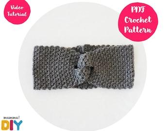 Chain Headband Crochet Pattern, video tutorial, easy ear warmer, crochet turban, all sizes, step by step, woman, baby, toddler headband