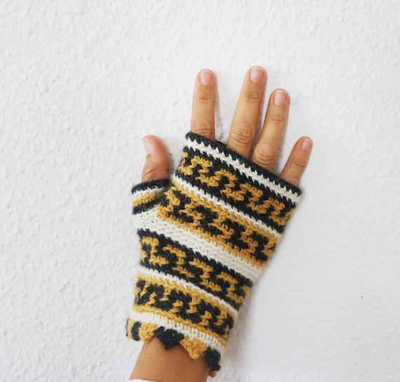 Patrón Crochet Mitones sin dedos Puntas del Perú tutorial | Etsy