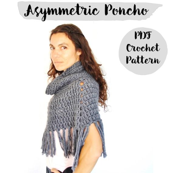 Patron Ganchillo Poncho Asimétrico con cuello alto tutorial | Etsy