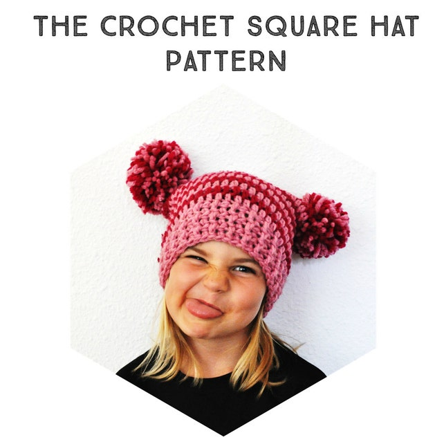 Crochet Pattern The Square Pom Pom Hat Newborn Toddler | Etsy