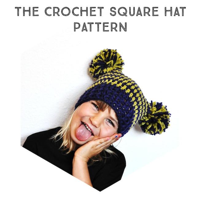 Crochet Pattern The Square Pom Pom Hat Newborn Toddler | Etsy