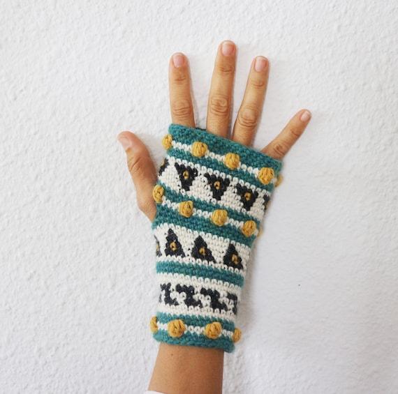 Patrón Crochet Mitones sin dedos Semilla tutorial paso a | Etsy