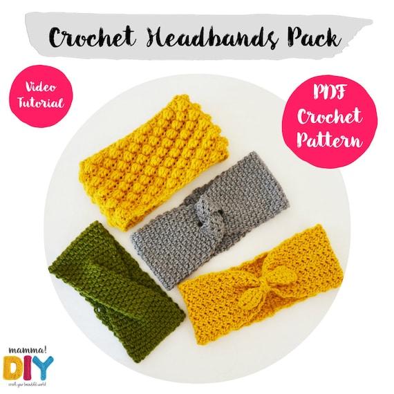 Pack Headbands Crochet Patterns English Version All Sizes Etsy