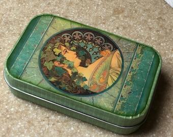 Vintage Mucha altered tin
