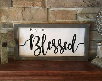 Blessed sign, large blessed sign, farmhouse decor, wood blessed sign, farmhouse sign, rustic decor, distressed wood sign, rustic sign