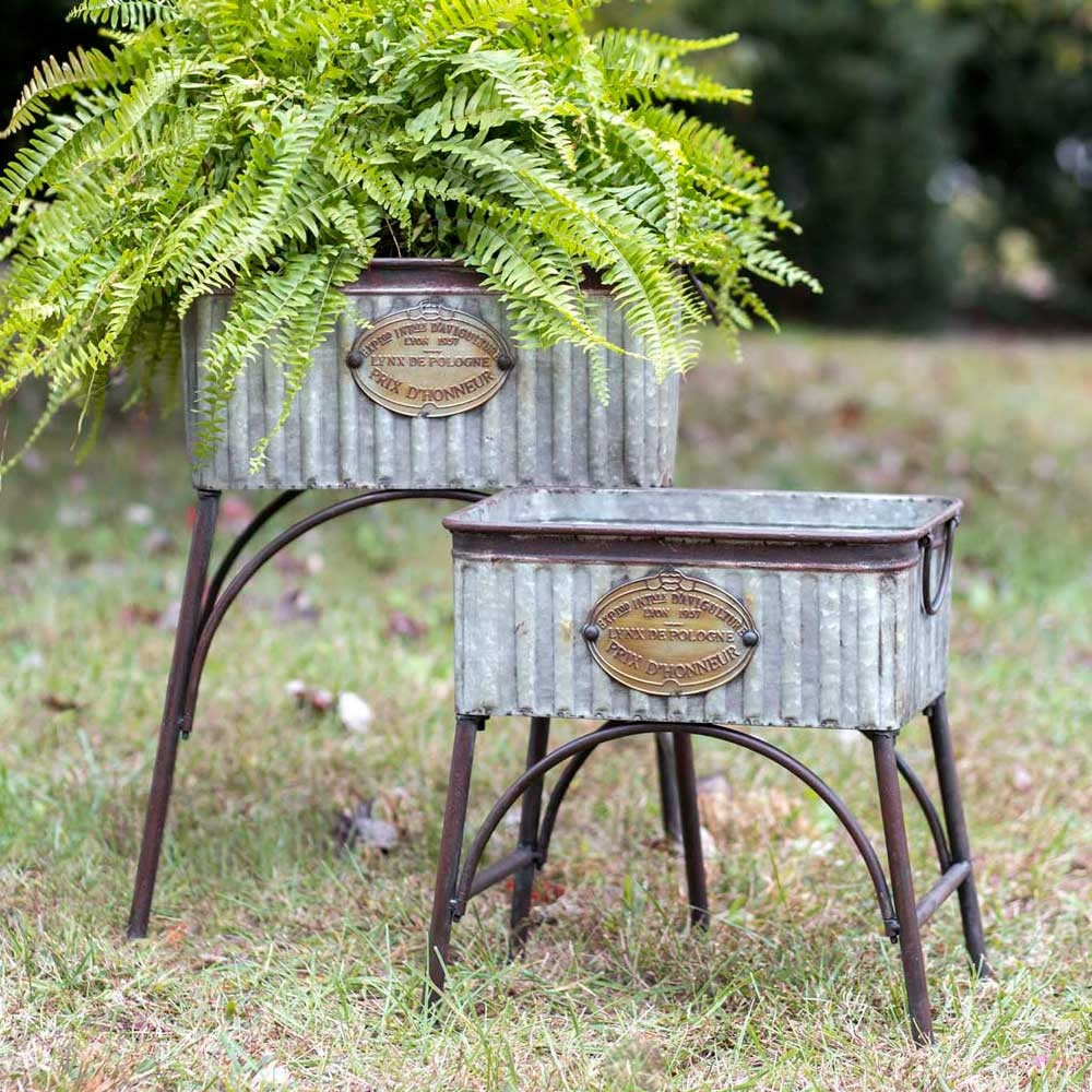 Genial Set Of Two Poland Tubs With Stands, Metal Garden Planters, Rustic Garden  Decor, Farmhouse Garden Decor, Metal Garden Decor