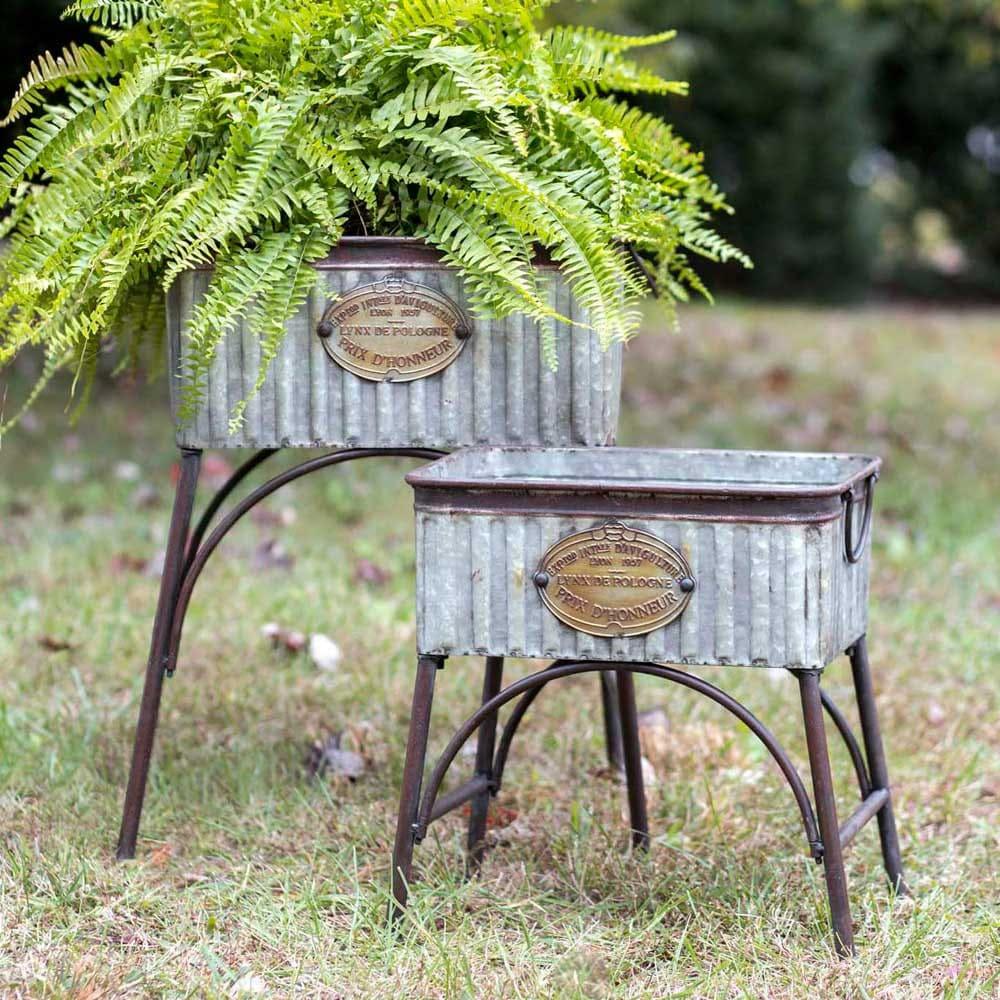 Set Of Two Poland Tubs With Stands, Metal Garden Planters, Rustic Garden  Decor, Farmhouse Garden Decor, Metal Garden Decor
