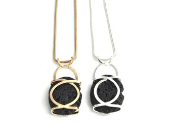 Volcanic Long Pendant Necklace, Black Elegant Stone Necklace, Natural Lava Pendant, Volcanic Rock, Formal Necklace, Volcanic Jewelry
