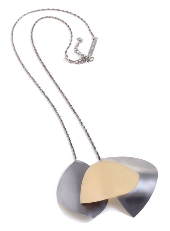Modern Big Pendant Necklace Contemporary Necklace Bohemian Gift Urban Necklace Silver and Gold Necklace Large Statement Jewelry