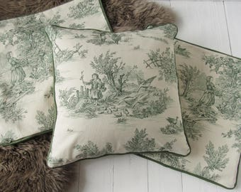 Pillowcase 40x40cm Made Of Toile De Jouy Blue Grey Elephants Etsy