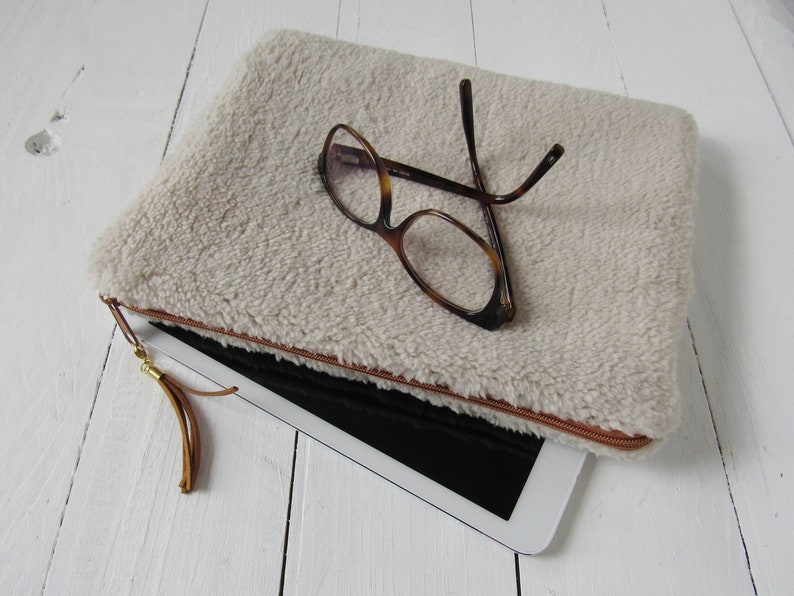 5ea6573abfc Case for tablet 97 made of faux shearling with cognac